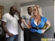 Cougar Amber Gets Filled By Two Black Schlongs