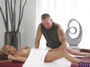 Hot blonde Kat Dior fucked by masseur