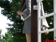 Japanese asses spied on by creepy voyeur outdoors in hd
