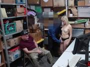 Blondie thief fucked on CCTV by a cop next to angry BF