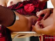 Latina dancer bangs in stockings