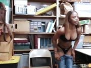 Black Teen W/ Big Tits Caught Shoplifting Fucked By Security