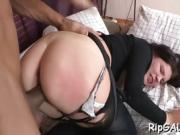 Sinful hottie performs deepthroat blow before wild anal sex