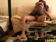 Ebony chick likes riding white dick