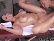Busty oiled babe in bikini pussylicked by asian masseuse befo