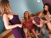 One Lucky Man Gets Marauded By Three Hot Babes