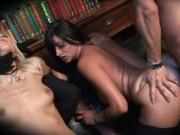 Watch these smokin' hot babes get plowed by three dudes