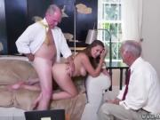 Cute latina cheerleader riding old white guy's thick cock Aft
