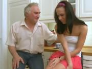 Old guy seduces a young hottie