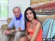 Young Latina gets banged by an old man's fat cock
