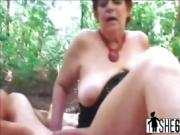 Horny granny Tamara masturbates and gets fucked outside