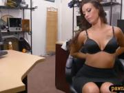 Curvy brunette woman gets railed by nasty pawn keeper