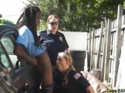 Huge black cocked stud fucking hard two nasty cops outdoors!