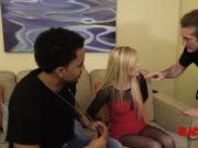 Blondie slut is busted and fucked by horny crooked cops