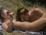 Two cougars went in Nudist Trail tanning under the sun
