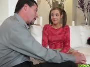Teen Molly Manson deep throat blowjob her step dad