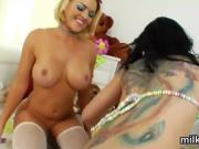 Hot lesbians fill up their big asses with milk and splash it
