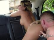 Busty taxi driver rimmed and fucked in her cab