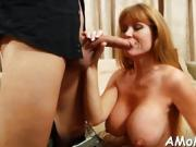 Hungry mature is eager to get mouth and tits fucked hard