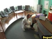 Doctor pussyfucks babe looking into patient complaints