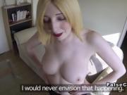 Pale blonde amateur fucks fake cop pov