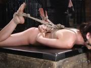 Hogtied and suspended in upside down