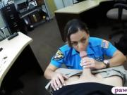 Busty officer pawns her stuff and banged by pawn dude