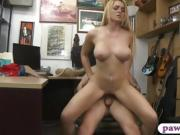 Big tits blonde woman railed by pawn dude in his office