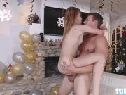 Cute Kristen Scott gets fuck in new years eve by dudes cock