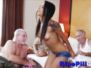 Latina Teen Whore Fucks 3 Old Dudes