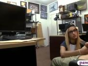 Skinny blonde babe railed by pawn dude at the pawnshop