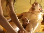 Dude Gets A Sexy Massage And She Rubs His Cock