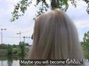 Euro blonde strips to lingerie outdoor and fucks