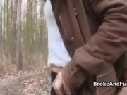 Amateur POV doggystyle in the forest