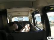 Blonde with glasses gives head and banged by the driver