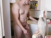 Nina Elle and Natalia Starr crazy 3some in laundry room