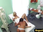 Ebony euro patient pussy licking nurse before taking doctors