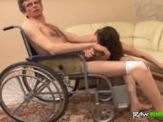 Horny brunette seduces handicapped man