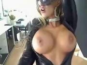 Busty reveals her tits on latex