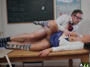 Seductive student Roxxy Lea bangs with her prof