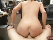Perky tits blond babe nailed by pawn man