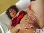 Horny mom in corset showed pierced pussy
