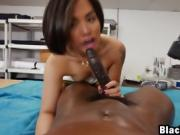 Hot ebony girl massaging black dick