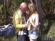 Ebony teen threesome Abby deep-throating meatpipe outdoor