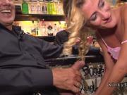 Skinny blonde gangbanged in public