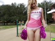 Alexa Grace drop and give Papa cheer coach a head