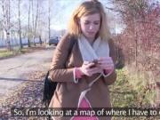 Czech amateur blonde bangs in bushies in public