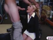 Blondie milf gets banged inside pawnshop's storage room