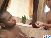 Brunette babe giving sexy soapy massage in bathroom