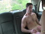 Milf taxi driver rides cock on backseat